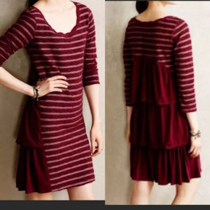 Anthro EVA dress  Saturday Sunday Stripe Burgundy